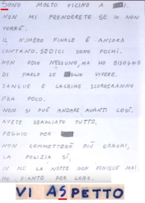 Lettera Mostro Zodiac