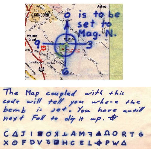 Mt Diablo cipher Zodiac letter
