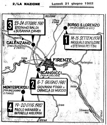 Mostro di Firenze mappa 1982