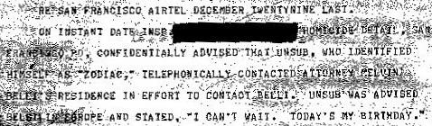 Zodiac birthday call FBI