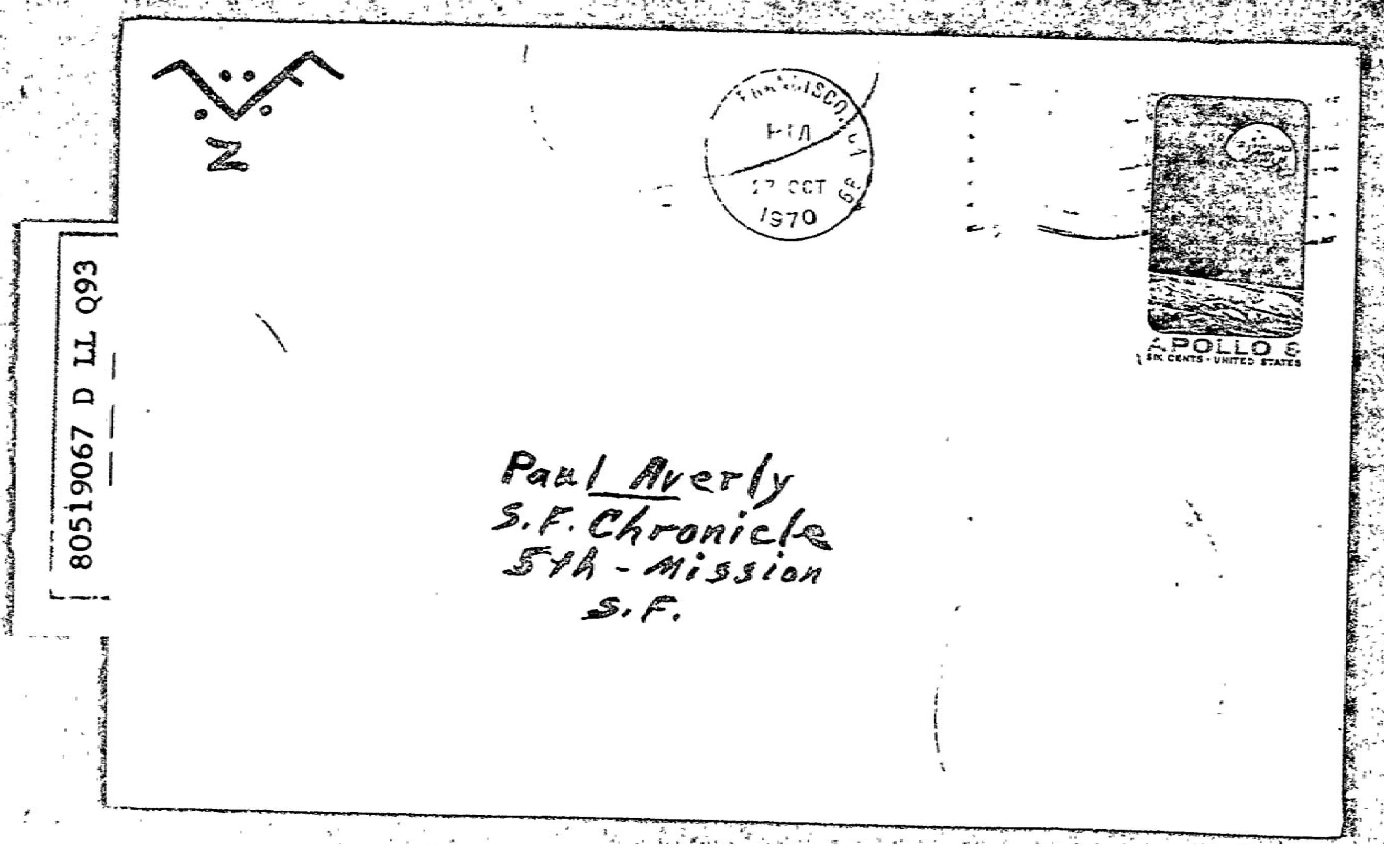 Zodiac Halloween card envelope